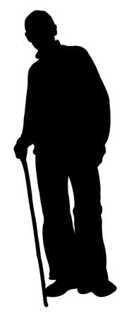 a poor man with walking stick, silhouette vector  Illustration