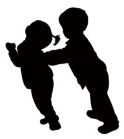 children fighting silhouette vector  Vector