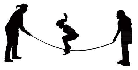 upbringing: Silhouettes of jumping rope-vector  Illustration
