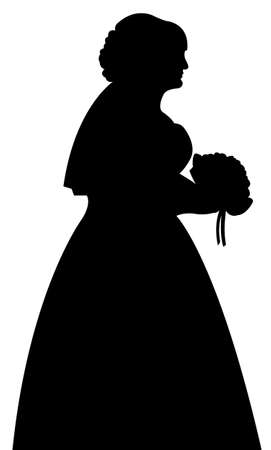 wedding dress back: bride silhouette vector