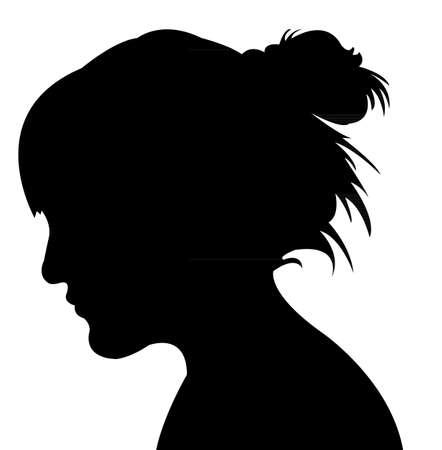 dame, tête, silhouette vecteur Vecteurs