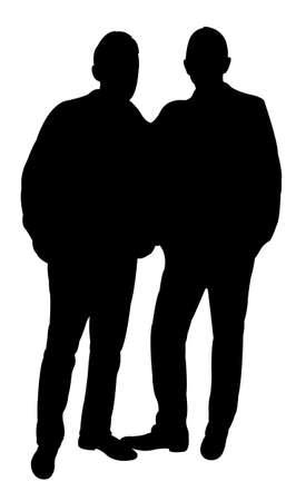 hoodlum: friends silhouette - vector  Illustration