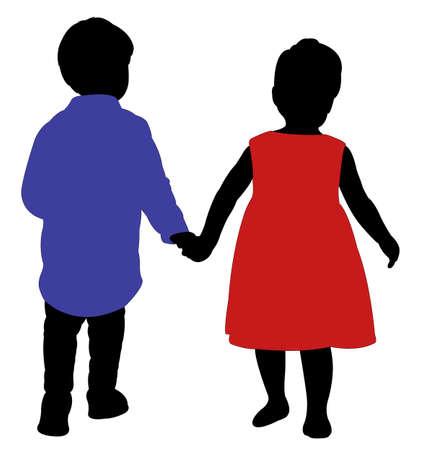 walking away: a boy and a girl friends, hand in hand, walking far away