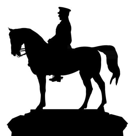 silhouette vector of the ataturk statue, that located at Ankara, Ulus square, turkey  일러스트