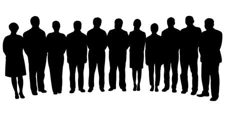 silhouettes of business people, standing in line