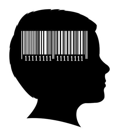 medical scanner: a boy head silhouette and bar code  Illustration
