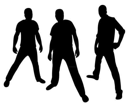 tough man: hooligans silhouette  Illustration