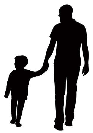 standing: father and son walking, silhouette vector