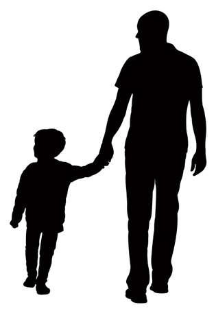 silueta humana: padre e hijo caminando, siluetas vector