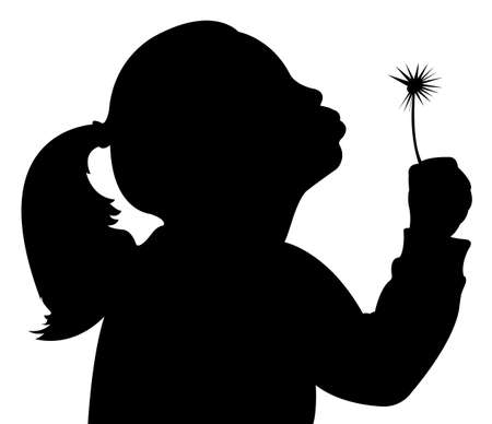 girl with dandelion Vector