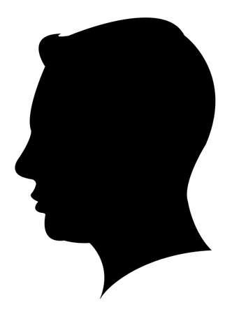 男の頭のシルエット