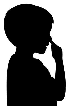 nose picking: a boy picking his nose, silhouette vector