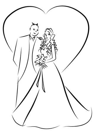 just married couple cartoon vector Illustration