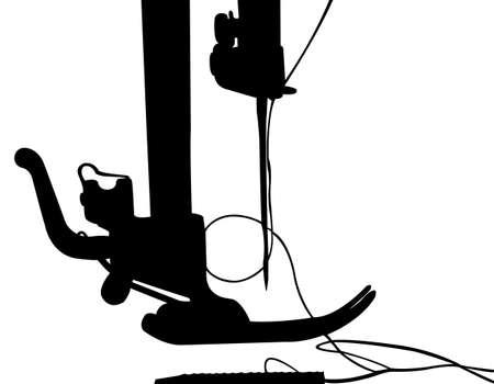 fib: Silueta de la m�quina de coser. Ilustraci�n del vector. Aislado en blanco. Vectores