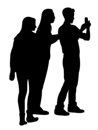 smart woman: taking selfie, silhouette vector