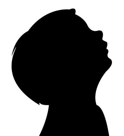 a boy looking up, silhouette vector Illustration