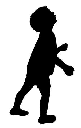a child head looking up, silhouette vector Çizim