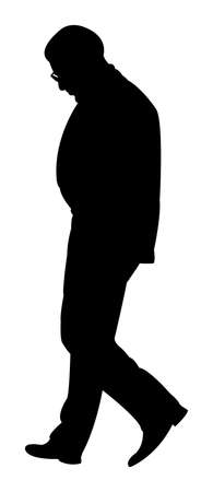 old man walking: walking man silhouette vector Illustration