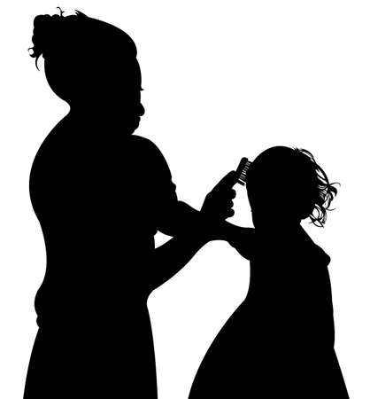 one girl only: making hair braid to little girl, silhouette vector