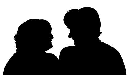 two woman making chat Vector