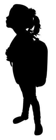 Zurück in die Schule Kind Silhouette Standard-Bild - 37443198