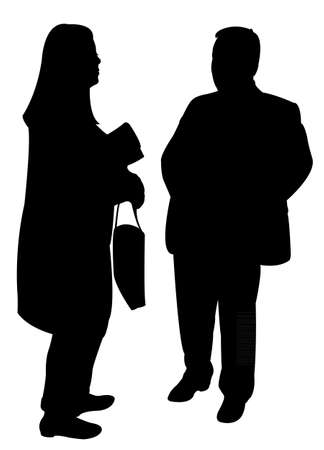 hands behind back: silhouettes of two people standing and talking to each other