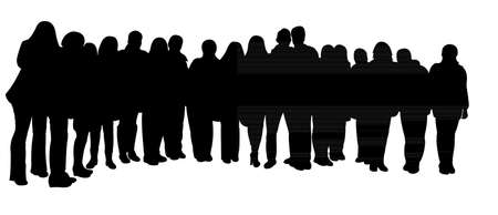 group cooperation: silhouettes of people, standing in line