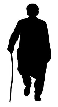 hombre pobre: un pobre hombre con bast�n, silueta vector