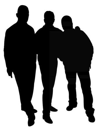 ni�o parado: tres hombres silueta vector Vectores