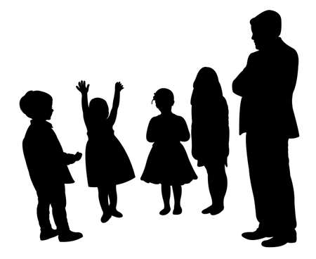 man and children,silhouette vector