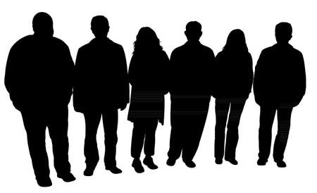 standing in line: silhouettes of people standing in line Illustration