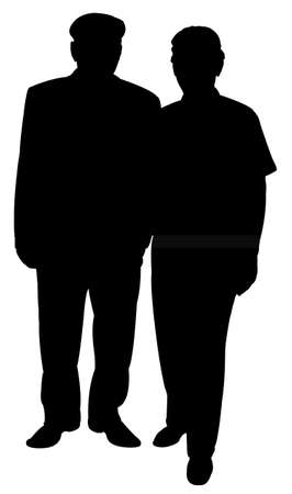 homelessness: two old poor men silhouette vector