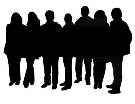 together standing: silhouettes of people standing in line Illustration