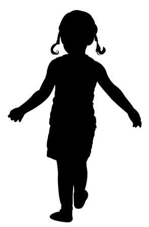 girl with bag: walking girl silhouette vector