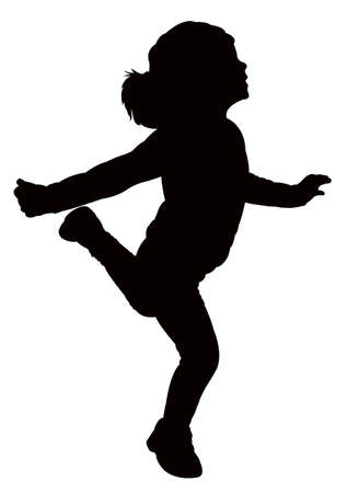 playtime: happy girl silhouette vector