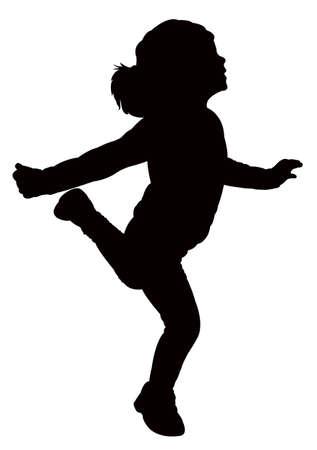 silueta niño: niña feliz vector silueta Vectores