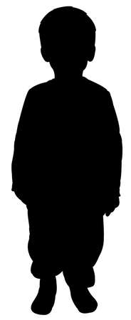 a poor boy silhouette vector