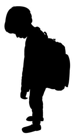 学校の子供のシルエット、疲れサイズに戻る