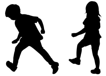 ruffian: two children running on a white background vector
