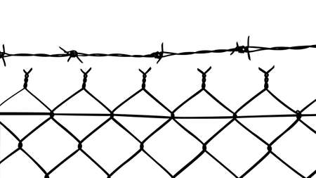 iron fence: vector of wired fence with barbed wires on white background Illustration