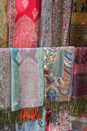 bazaar: scarfs at Garnd bazaar, turkey Stock Photo