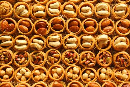 baklawa: english dessert as background Stock Photo