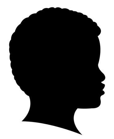 cabeza: Chica Negro cabeza silueta