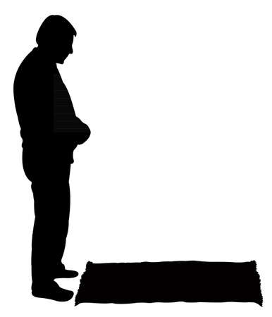 islamic pray: performing five time prayer, silhouette of a Muslim Praying
