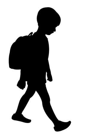 ir al colegio: volver a la escuela chico silueta Vectores