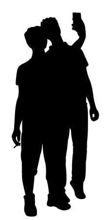 head phone: taking a self, vector silhouette