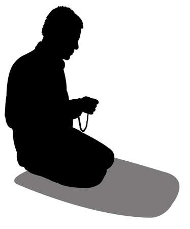 believer: performing five time prayer, silhouette of a Muslim Praying