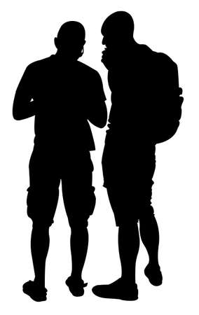 guy standing: Silhouette of two friends Illustration