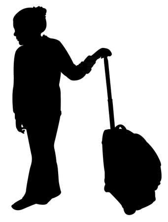 lugage: girl with luggage Illustration