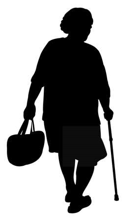 an old woman walking with poles